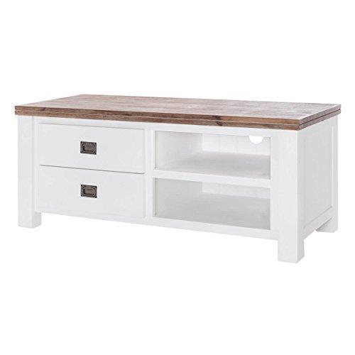 MÖBEL IDEAL TV Board Lyron I Lowboard im Landhausstil aus Massivholz I B120 x H52 x T50 cm - Oberfläche in Braun & Weiß lackiert