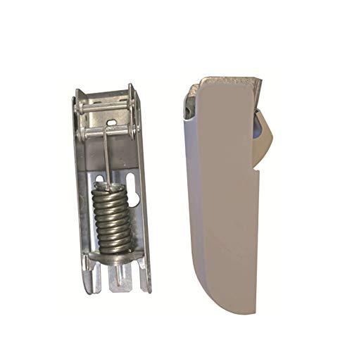 Bisagra para Arcones Frigoríficos Horizontales en Acero Cincado | Con Muelle de 4,5mm | Embellecedor en Poliestireno Blanco