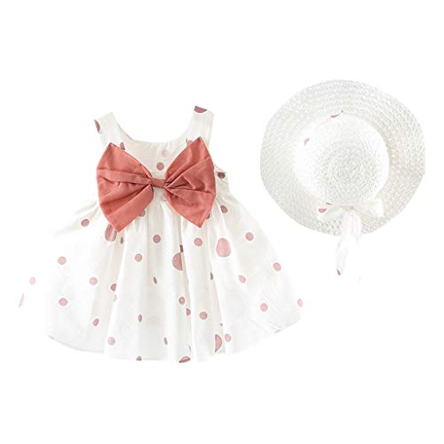Allence Kinder Baby Mädchen Ärmellos Kurze Kleid+1PC Hut Mode O-Ausschnitt Polka-Punkt Bogen MiniKleid Hoher Taille Prinzessin Sommerkleid Urlaub Outfit Kleidung Schön Kleinkind