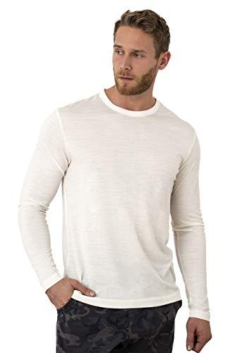 Merino.tech 100% Organic Merino Wool Lightweight Men's Long Sleeve T-Shirt (M, Creamy)