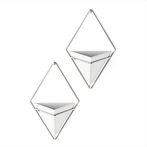 Umbra Trigg Übertopf, Keramik/Metall, Weiß/Nickel, 11.2 x 6.4 x 19 cm, 2