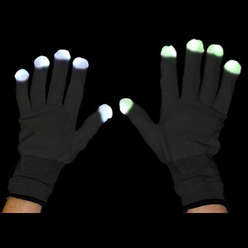 Aptafêtes - AC0801/NOIR - Paire de gants avec led rythme -noir - Taille 21 X 12 cm