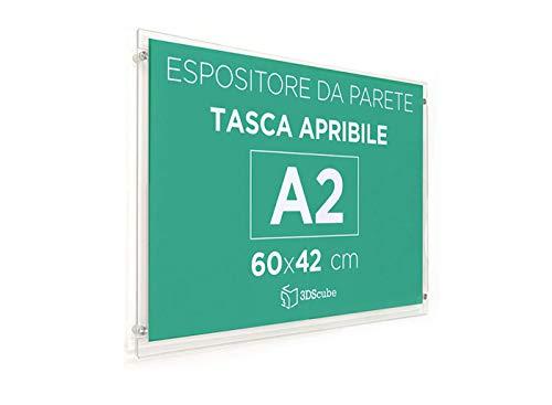 Espositore in plexiglass di ALTISSIMA qualità, da parete, targa a tasca apribile in plexiglass, porta avvisi e depliant formato A2 60x42 cm, completa di distanziali in alluminio (A2 Orizzontale)
