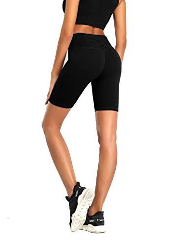 QueenDer Legging Sport Femme, Running Yoga Legging Taille Haute Pantalon de Gym Profession Sport Court Pants Comfortable Control pour Jogging Cyclisme Minceur Loisirs Quotidiens (Noir, XL)