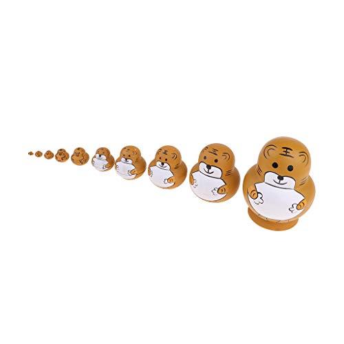 Tiger Matroschka Babuschka Matrjoschka Steckpuppen Russishe Puppen Russian Nesting Dolls Dekoration Geschenk 10-TLG.