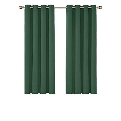 Deconovo Blickdichte Gardinen mit Ösen Vorhang Thermo Verdunkelung Schlafzimmer 160x132 cm Waldgrün 2er Set