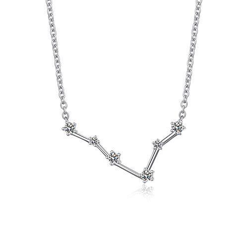 Jiamiaoi Women's 12 Horoscope Necklace Pisces 925 Sterling Silver Zodiac Sign 12 Constellation Necklace Astrology CZ Pendant Necklace Star Necklace Birthstone Necklace Birthday Gift Chain:46cm/18'