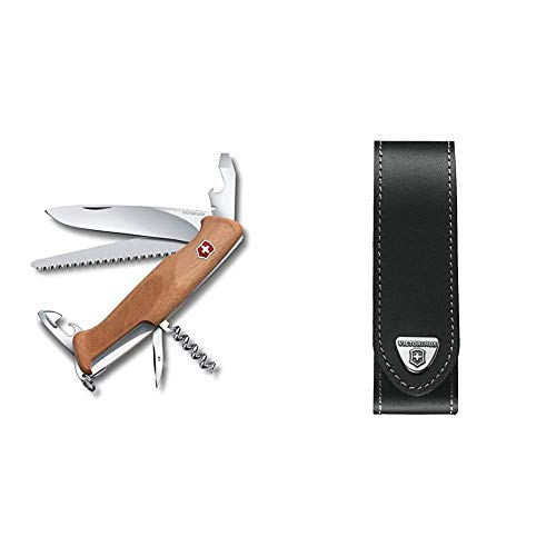 Victorinox Holz Taschenmesser Ranger Wood 55 (10 Funktionen, Feststellklinge, Schraubendreher) & V4.0505.L Mantel, schwarz, One Size