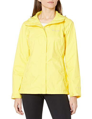 Columbia Women's Arcadia II Hooded Jacket, Waterproof and Breathable Outerwear, -buttercup, Small