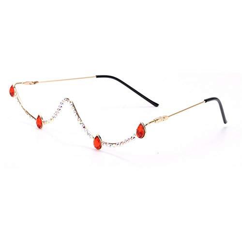 ZZOW Moda Mujer Semicircular Montura De Metal Gafas De Lujo De Cristal Decoración De Diamantes Gafas Vintage Sin Lentes Montura De Gafas