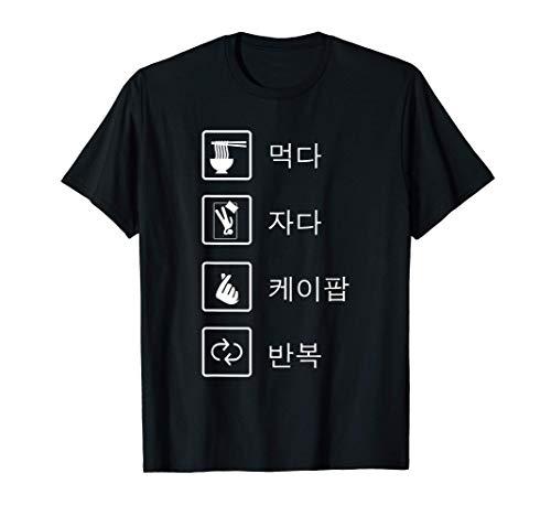 Eat Sleep K-Pop Repeat Pop Coreano Hangul Regalo Camiseta