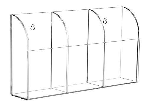 Organizador de almacenamiento de 3 compartimentos, de acrílico transparente, para montar en la pared, suministros de oficina, organizador, organizador de almacenamiento, contenedor de 3 compartimentos