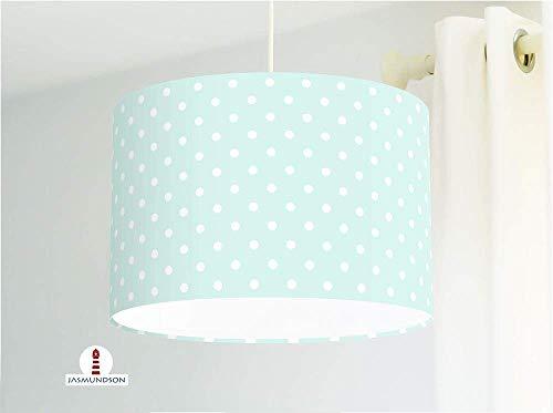 Lampe für Kinderzimmer mit weißen Punkten auf hellem Mint aus Baumwollstoff - alle Farben möglich
