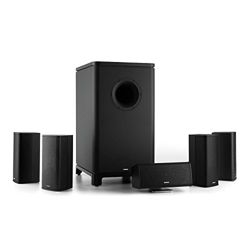 Numan Ambience 5.1-Surround-Sound-System - Impianto Home Theater Cinema, Subwoofer, 4 Altoparlanti Satellite, 1 Altoparlante Centrale, Cavo Altoparlan