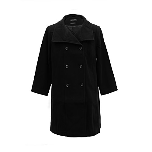 1XP Ferrecci Womens Plus Size Black Kylie Double Breasted Peacoat