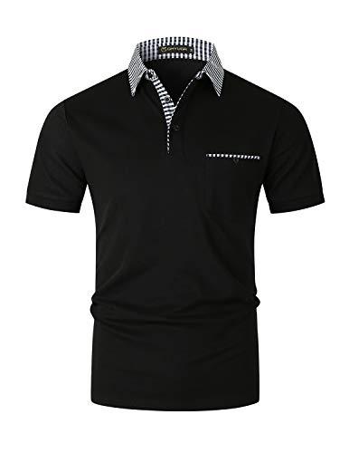 GHYUGR Polos Manga Corta Hombre con Bolsillo Ropa de Trabajo Cuello Clásico a Cuadros Camisa de Verano Camiseta para la Oficina,Negro 1,XXL