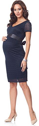 Be Mammy Damen Umstandskleid festlich aus Spitze Kurze Ärmel Maternity Schwangerschaftskleid BE20-162 (Marine2) - 3