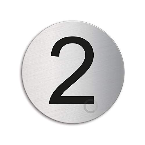 Plaque Numéro de porte 2 | Ø 75 mm autocollant | acier inox brossé 39072