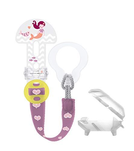 MAM Clip it. Fashion & Cover Schnullerband mit Saugerschutz, längenverstellbarer Schnullerhalter mit abnehmbarem Ring, passend für Schnuller, Beißringe sowie Spielzeuge, rosa