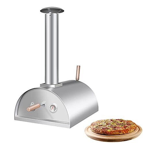 Horno De Pizza De Acero Inoxidable Para Exteriores A Gas De Leña, Pellets De Madera Dura Portátiles, Adecuados Para Cualquier Espacio De Jardín Y Camping