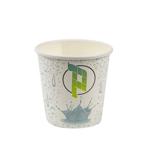 Virsus 200 vasos de papel para agua, 180 ml, color blanco, con diseño de palucart biodegradables, 4 paquetes de 50 vasos de cartón