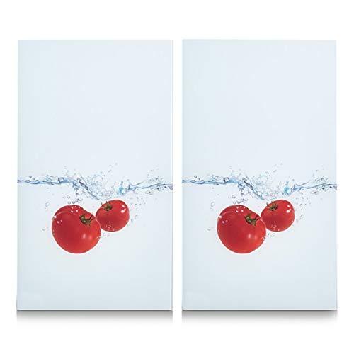 Zeller 26306 - Tabla para cortar de cristal, salpicadura de tomate, 52 x 30 cm, 2 unidades