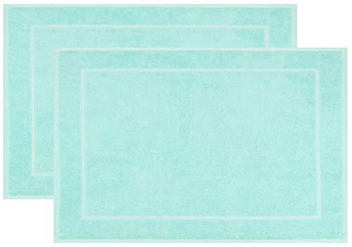Zollner 2er-Set Badematten, 100% Baumwolle, ca. 50x70 cm, 600g/qm, Mint
