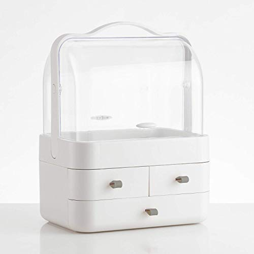 WONLINE Makeup Organizer, Modern Cosmetic Organizer Makeup Storage Holder, Display Make up Caddy Shelf Organization Boxes Case Dustproof w/Handle and Drawer on Countertop