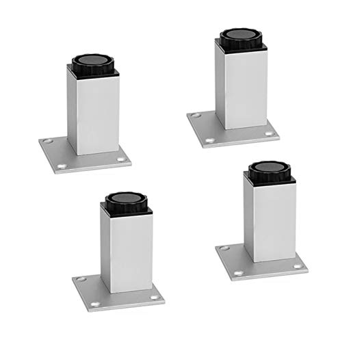 Aluminiumlegering Fyrkantig Justerbar Möbler Ben Soffa Ersättningsben Möbler Niveller För Skåp Soffa Stol Kommode (Set Med 4 / Vit) (Size : 80mm)