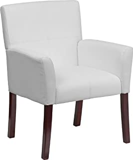 Flash Furniture White Leather Executive Side Reception Chair with Mahogany Legs