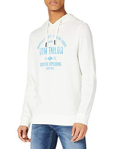 TOM TAILOR Herren Logo-Print Hoodie Sweatshirt, Off White, L