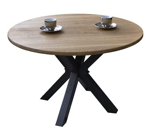 Lumarc Nizza, Couchtisch aus Massivholz, natürliche Eiche, modernes Design, minimalistisch, rund, Ø 70 x 45 cm