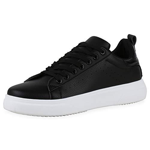 SCARPE VITA Herren Sneaker Low Kroko-Optik Flache Profilsohle Freizeit Schnürer Bequeme Schuhe 195255 Schwarz Kroko 44