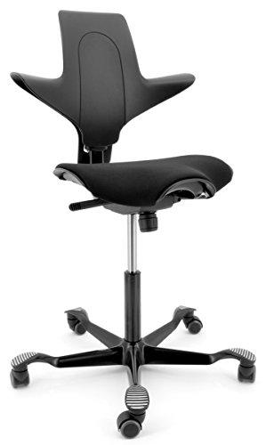 HAG Capisco Puls 8020 schwarz mit Sitzmatte Grundmodell mit Fußkreuz in Kunst.