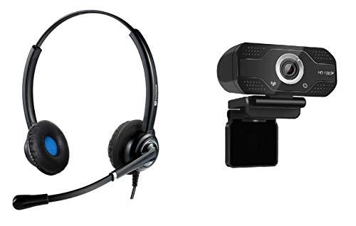 TruVoice Professional USB Headset und Webcam Bundle - Enthält VoicePro 20 Doppelohr USB Headset mit Geräuschunterdrückung Mikrofon und W830 HD 1080P Webcam