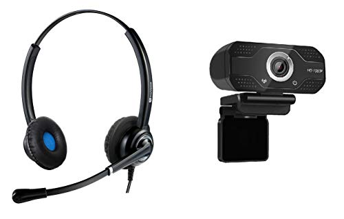 TruVoice Professional USB Headset and Webcam Bundle - Includes VoicePro 20 Double Ear USB Headset with NC Microphone and W830 HD 1080P Webcam