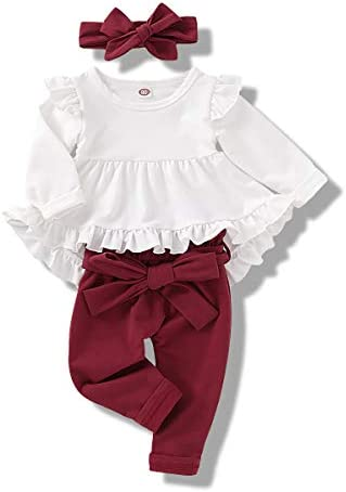 Infant Toddler Baby Girls Clothes Long Sleeve Ruffles White Shirt Tops Wine Red Long Pants Fall product image