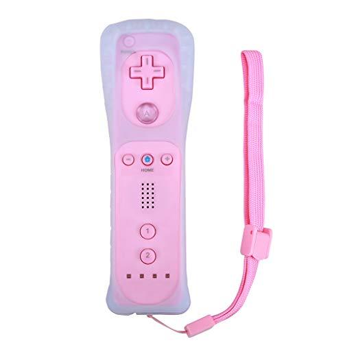 Huiingwen - Mando inalámbrico sin Motion Plus para Wii, mando a distancia con funda de silicona rosa 15x4x3.5cm