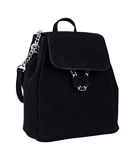 SIX Damen Mini Rucksack in Wildlederoptik, veganes schwarzes Leder mit silbernen Details, Doppelverschluss (726-771)