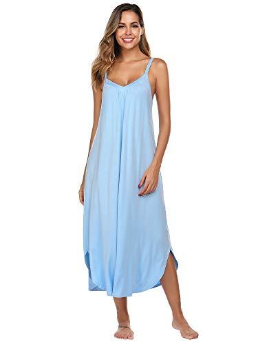 Ekouaer Womens Sleeveless Long Nightgown Summer Slip Night Dress Cotton Sleepshirt Chemise Plus Size Clear Blue