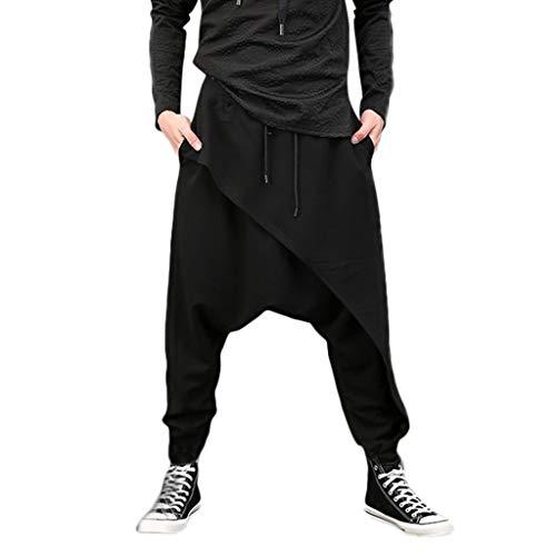 Rmoon Pantaloni Harem Uomo Baggy Pantaloni Comodi Pantaloni alla Turca per Uomo E Pantaloni Cavallo Basso per Completare L'Abbigliamento Etnico (Nero, S)