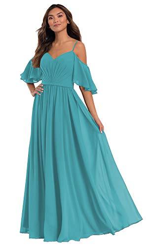 KKarine Women's Off The Shoulder V Neck Spaghetti Strap Bridesmaid Dresses Long Pleated Chiffon Flutter Formal Ball Gown (16 Aqua)