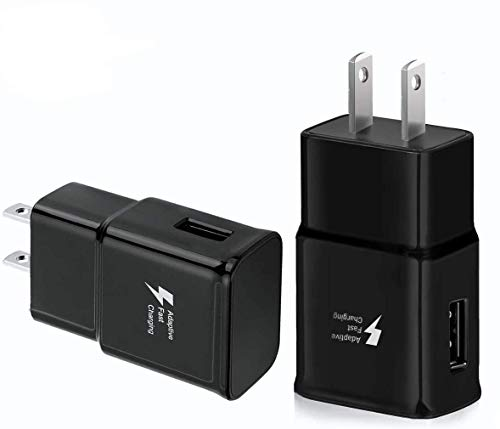 Samsung Fast Charger Adapter Adaptive Fast Charging Wall Charger Compatible Samsung Galaxy S8 S10 S9 S7 S6 / Plus/Edge/Active, Note 9, Note 8, Note 5, EP-TA20JBE Quick Charge (2 Pack Black)