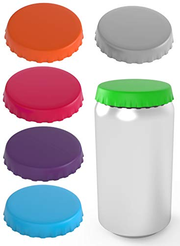 Silicone Soda Can Lids – Can Covers – Can Caps – Can Topper – Can Saver – Can Stopper – Fits standard soda cans (6 Pack, Assorted)