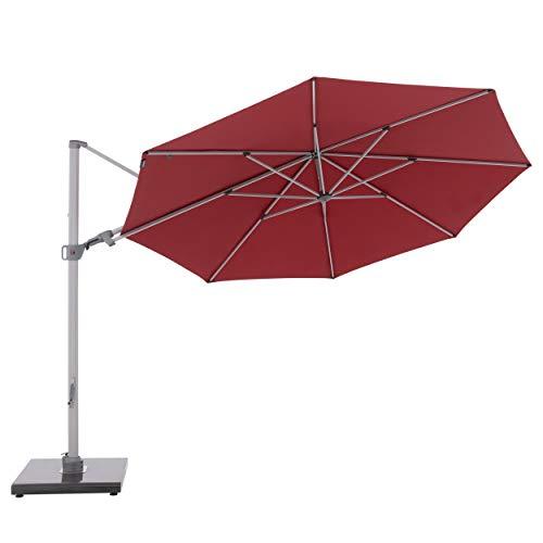 Knirps Sonnenschirm PENDULAR - Runder Premium Ampelschirm - Stilvoll und hochwertig - Starker UV-Schutz - 340 cm - Bordeaux