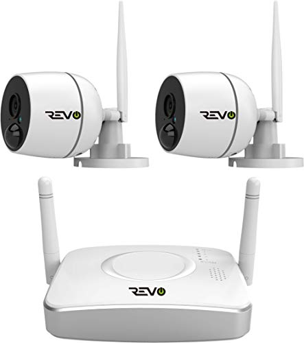 RevoAmerica 4 Ch. Wireless Gateway Security System, 32GB Micro SD Card & 2 X 1080P Audio Capable Bullet Cameras, Built-in PIR - Remote Access via Smart Phone, Tablet and PC, 4 Channel Wi-Fi Gateway