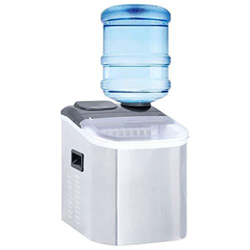 Tidyard Eiswürfelbereiter Edelstahl 20 kg / 24 h Digitale Anzeige Gastro Eiswürfelmaschine Ice Maker Eiscrasher Eismaschine Icemaker Profi Silbern und Schwarz 31 x 39 x 37 cm