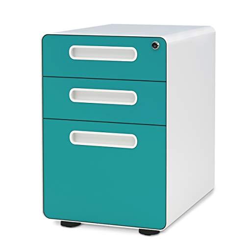 DEVAISE Unidad de almacenamiento Unidad de escritorio con ruedas para archivador colgante de metal A4 con cerradura 3 cajones, 41 x 53,5 x 60,5 cm, Azul