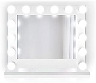 Krugg Lighted Hollywood Vanity Mirror   LED Makeup Mirror w outlets   Table Top Or Wall Mount   Plug-in