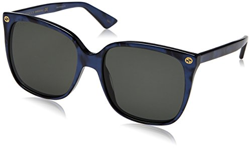 Gucci dames GG0022S 005 zonnebril, blauw (blauw/grijs), 57